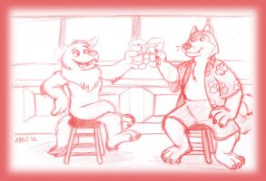 Two Pals and Beer by Kresblain