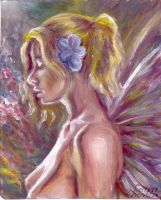Girl with flowers and wings by CORinAZONe