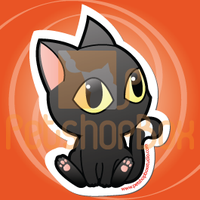 "Stiker Kucing Hitam ""Pose"" by petshop-studio"