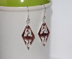 The Elder Scrolls V Skyrim logo earrings by knil-maloon