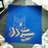 Tardis wrapped in blue and bronze by Pandora26