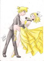 Kagamine twins by BlackNightCat