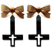 Double Cross Earrings in Black and Gold by asunder