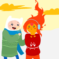 Finn and Flame Princess with le sparkler by HoshikoKin