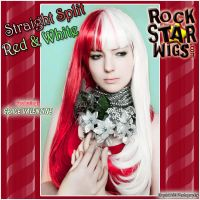 Straight Split - Red + White by GothicLolitaWigs