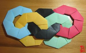Origami Olympic Rings by adnileb
