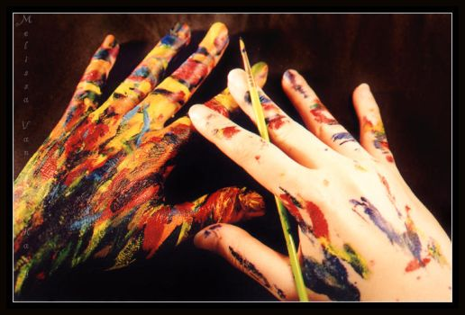 .:.Painter's Hands.:. by AquaLilia