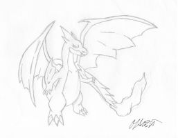 Drawing a MegaCharizard by M by MarioTheArtistM