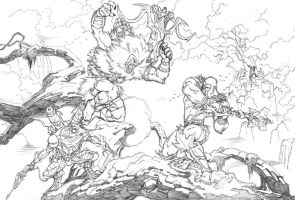 Grizzlor against Moss Man. by Axel-Gimenez