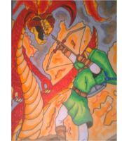 link fighting Volvagia by DanteJackpot