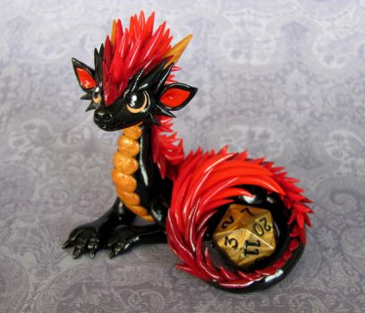 Red Maned Dice Dragon by DragonsAndBeasties