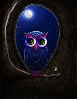 Owl at the moonlight by whikiko