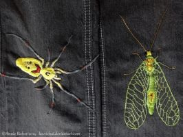 Hand Made Embroidery - Spider and Green Lacewing by Lawrichai