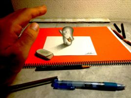 3D Drawing - Greeting by NAGAIHIDEYUKI