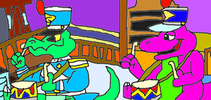 Barney and Galapagos bandmarcher by conlimic000