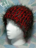 Black Whisps on Red Hat by SmilingMoonCreations