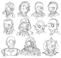 Star Wars outline sketshes by MsGothje