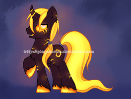 Lava cursed pony [adoptable] by Pingwinowa