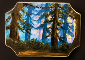 Sunset Forest (Acrylic on Wood) by SomberNocturna