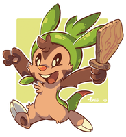 Chespin Charge by iveechan-art