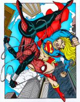 Spider-Girl VS Supergirl by RBWP-BRPW