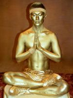 Gold buddha body paint by Bodypaintingbycatdot