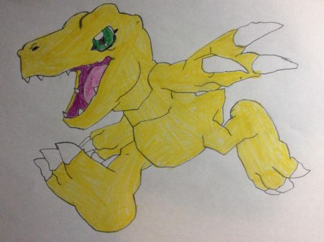 My drawing of Agumon by SplatCrosser
