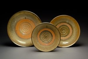 Gas Fired Platters with Carbon Trap Shino Glaze by MBrownCeramics