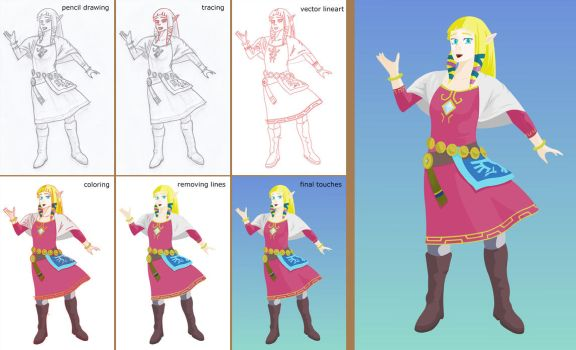 Zelda Work Phases [vector tutorial] by flash-and-blood