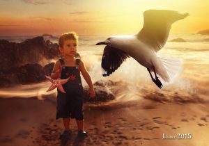 The child and the sea by Julianez