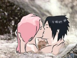 kissing in the waterfall by LucyMishima123