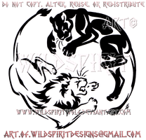 Yin Yang Lion And Lioness Tribal Design by WildSpiritWolf