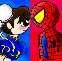 Spider-Man and Chun-Li Lovestruck by Mosqueda29
