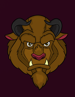 Beast Head on Purple Background by Writer-Colorer