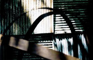 shadows on corrugated metal by radiofreezombie