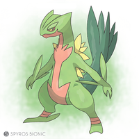 Mega Sceptile (pokemon) by SpyrosBionic