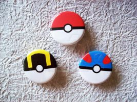 Pokeball pin-back buttons by Sacari