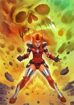 Crimson Valkyrie Powers Up by Taclobanon