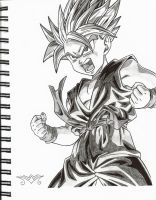 Kid Trunks Powering Up by MiraiWarriorWithin