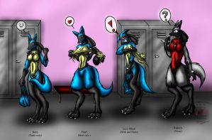 Commission: 4 Lucario girls by Snowfyre
