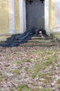 Stock - Gothic lady laying on stairs by S-T-A-R-gazer