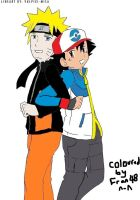 Naruto and Ash coloured (lineart by Vulpixi-Misa) by Fran48