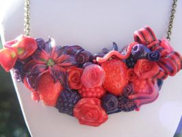 Polymer clay Mixed Berry Necklace by cynamonspice