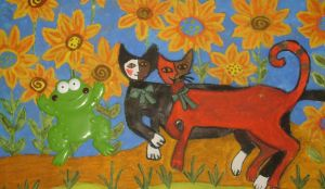 frog and sunflower cats by ingeline-art