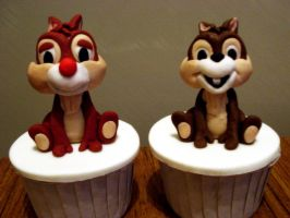Chip And Dale Cupcakes by Sliceofcake