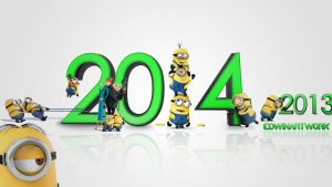 Minions Welcoming 2014 Banana Wallpaper  Free !!! by EdwinArtwork