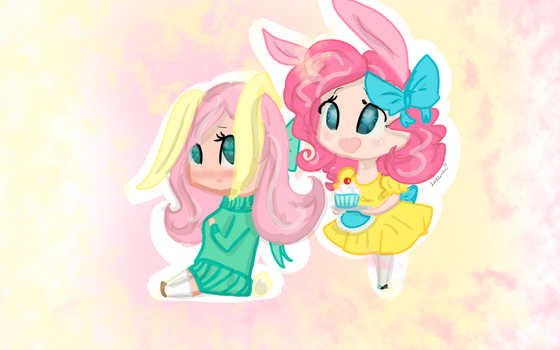 Fluttershy and Pinkie the Bunny Girls by compassrose0425