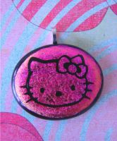 Hello Kitty Pink Fused Glass by FusedElegance