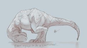 T-Rex Trying to do a Cartwheel by lord-phillock