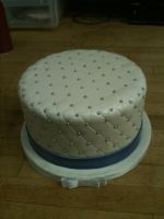 Quilted White and Blue Cake by Spudnuts